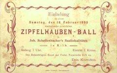 Ballkarte für Zipfelhauben-Ball am 18.02.1905